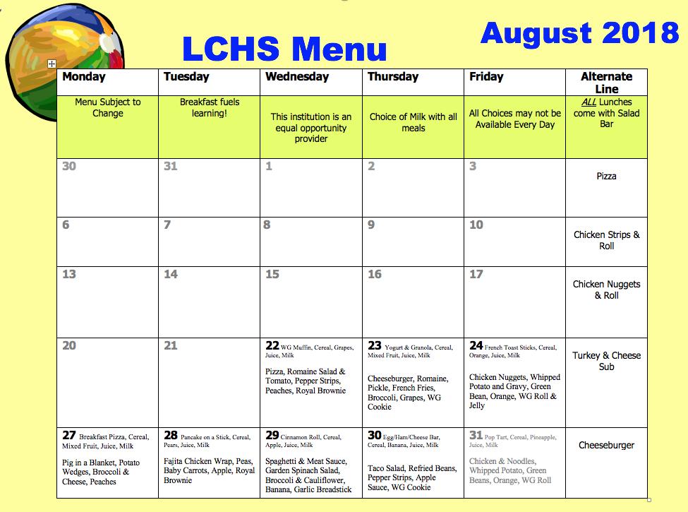 Labette County Usd 506 Lchs Lunch Menu